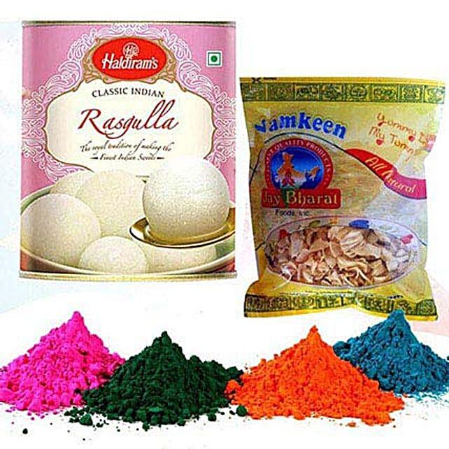 Rasgulla with Namkeen and Holi Colors