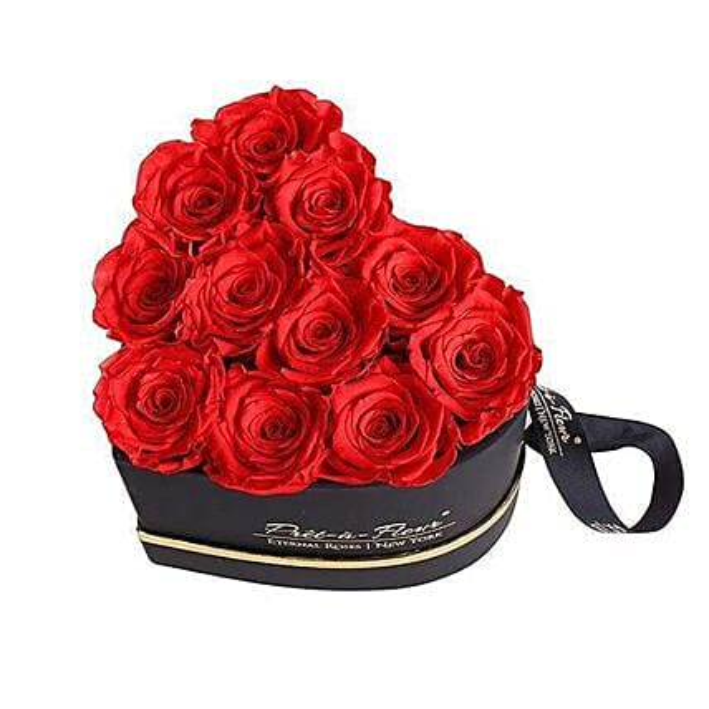 Red Eternal Roses In Black Boxes
