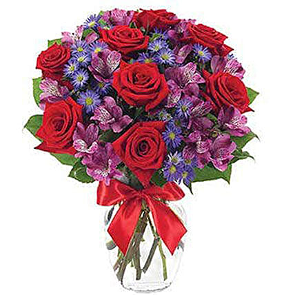 Red Roses And Alstroemeria Flower Bouquet
