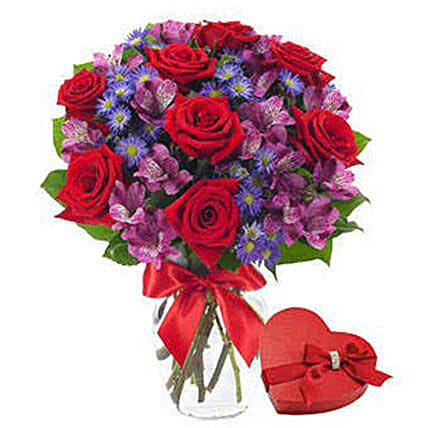 Red Roses Flower Bouquet And Chocolates