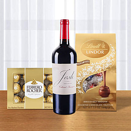 Red Wine With Ferrero Rocher N Lindt Lindor Truffles:Send Wine Gift Basket to USA
