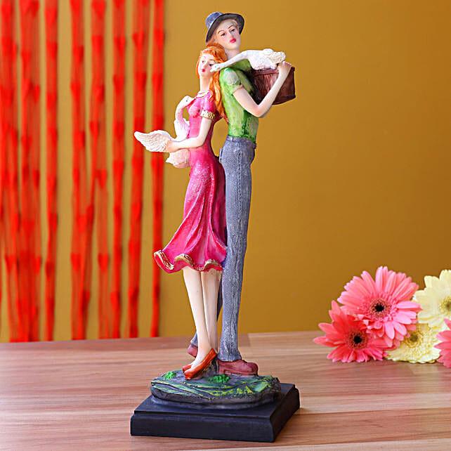 Romantic Couple With Swan Figurine