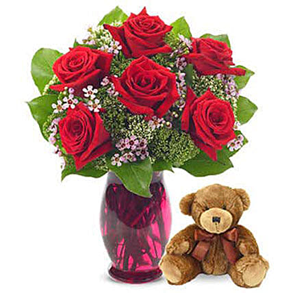 Rose Garden Bouquet With Teddy Bear:Flowers and Teddy Bears to USA
