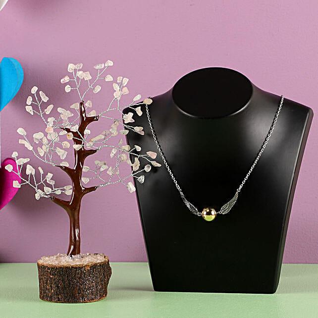 Rose Quartz Wish Tree With Pendant:Send Jewellery to USA