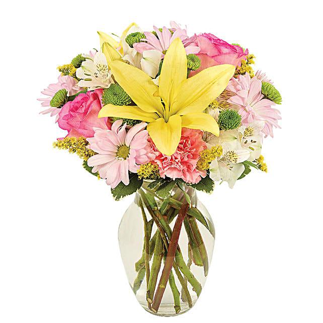 Serene Assorted Flowers Vase Arrangement:Send Lilies to USA