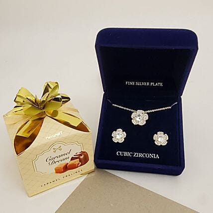 Silver Plated Zirconia Gift Set:Send Jewellery to USA