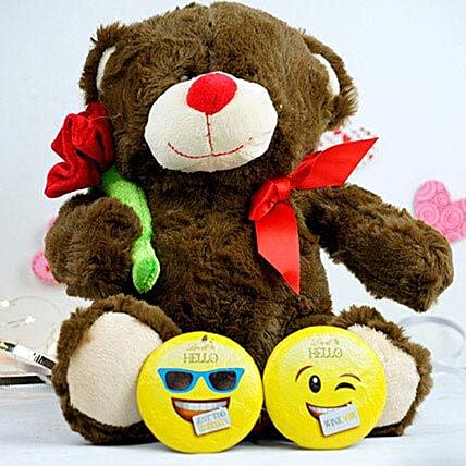 Teddy With Rose N Lindt Chocolates