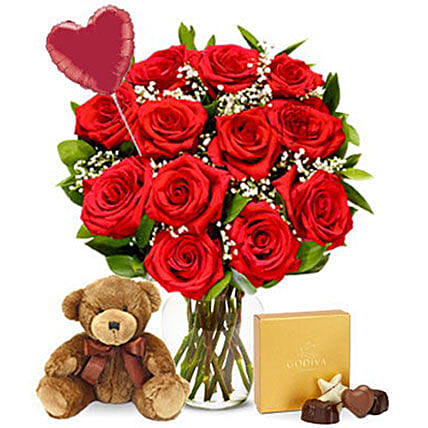 Ultimate Red Roses Bouquet Surprise Combo