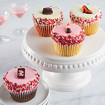 V Day Jumbo Cupcakes With Personalised Greeting Card