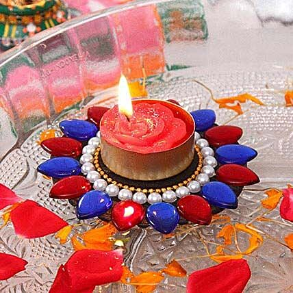 Floating Diya with Pearl N Kundan Work