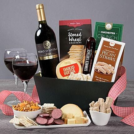 Classic Red Wine Gift Basket:Send Mothers Day Gifts to USA
