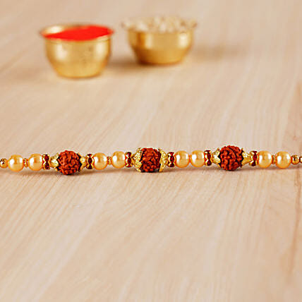 Golden Red Beaded Rudraksh Rakhi:All Gifts