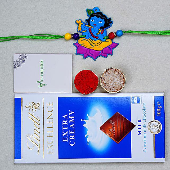 Fabulous Krishna Kids Special Rakhi And Lindt Chocolate