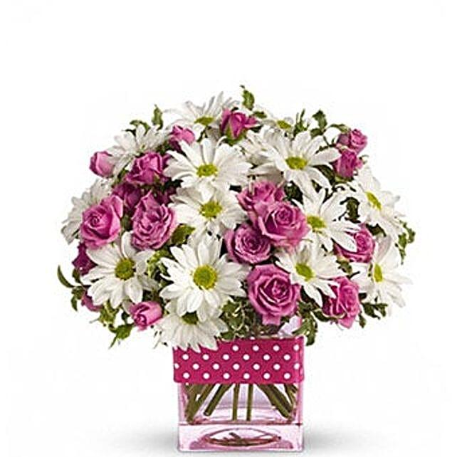 Pink White Flower Theme Vase