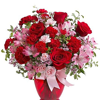 Red Pink Love Flower Arrangement:Send Roses to USA
