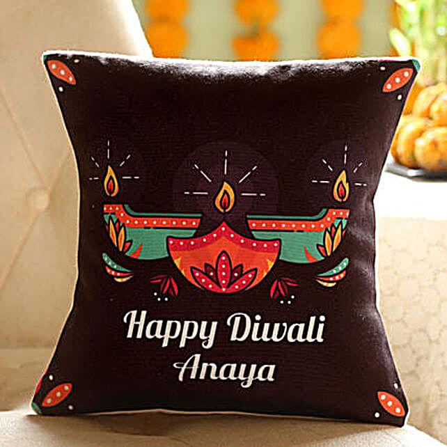Customise Diwali Diya Cushion:Send Diwali Personalised Gifts to USA