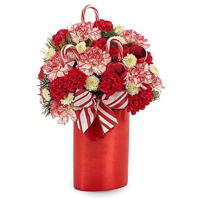 Festive Peppermint Twist Bouquet:Roses