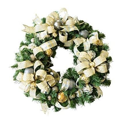 Silver And Golden Christmas Floral Wreath:Gifts Offers in USA