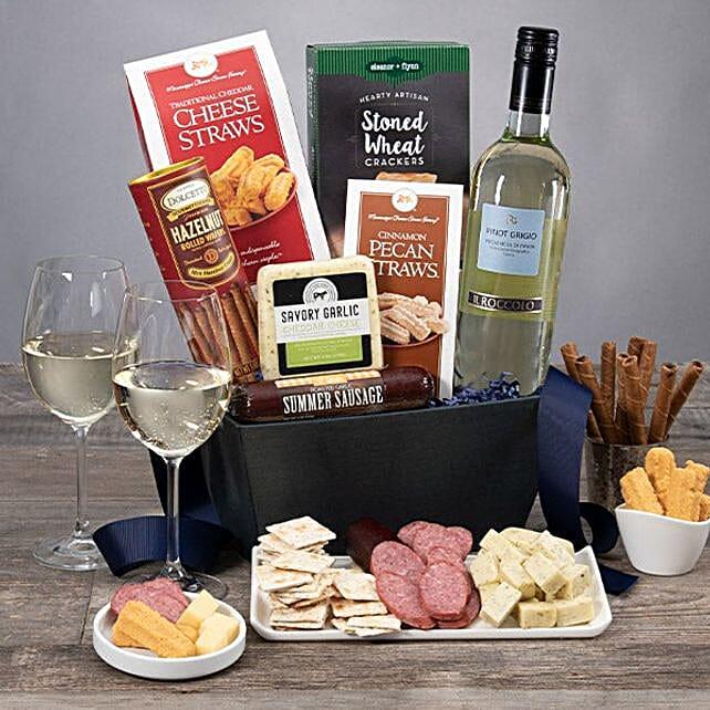 Classic White Wine Gift Basket:Send Wine Gift Basket to USA