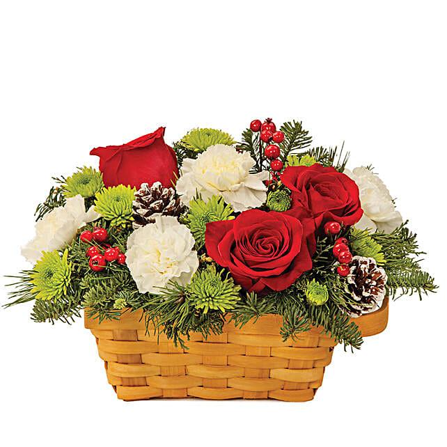 Exotic Assorted Flowers Basket Arrangement