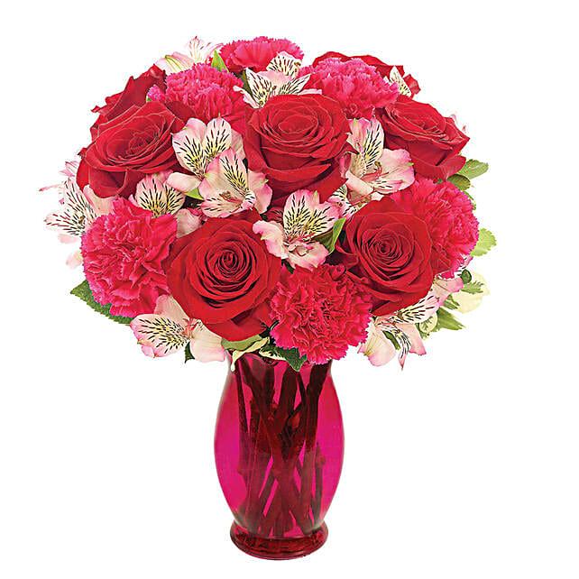 Exotic Mixed Flowers Pink Vase Arrangement
