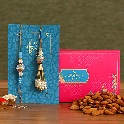 Blue Orb Pearl And Lumba Rakhi Set With Healthy Almonds