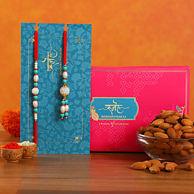 Blue Pearl And Lumba Rakhi Set With Healthy Almonds:Rakhi With Dryfruits USA