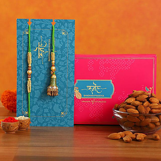 Ethnic Green Pearl And Lumba Rakhi Set With Healthy Almonds