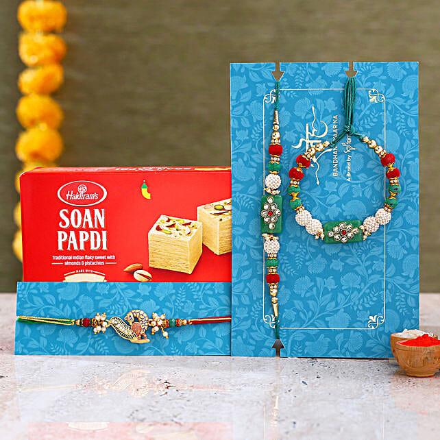 Green Pearl And Peacock Lumba Rakhi Set With Soan Papdi