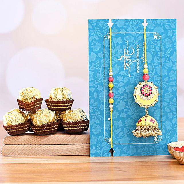 Jhumki Style Pearl Lumba Rakhi Set With 3 Pcs Ferrero Rocher