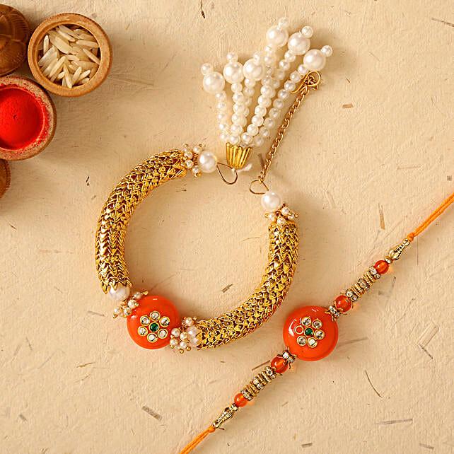 Orange Pearl And Lumba Rakhi