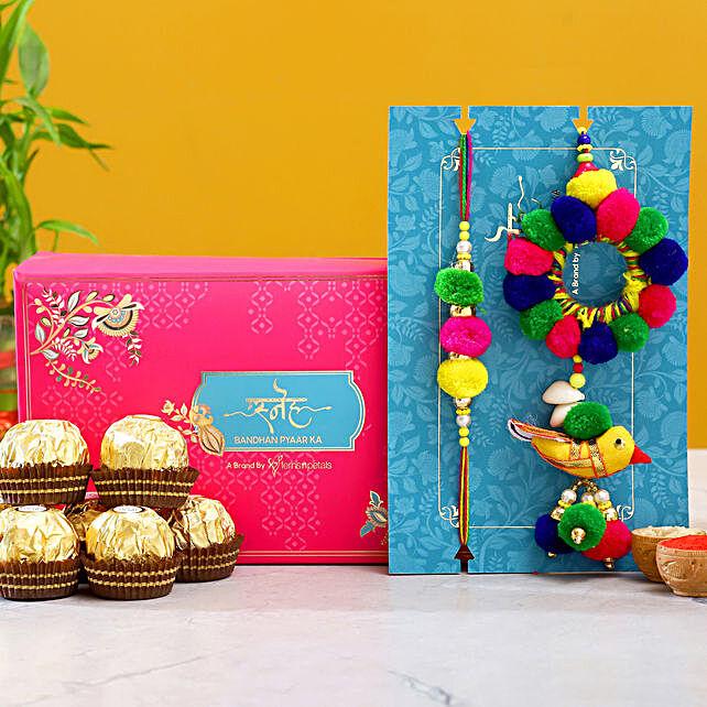 Pom Pom Ethnic Lumba Rakhi Set With 3 Pcs Ferrero Rocher
