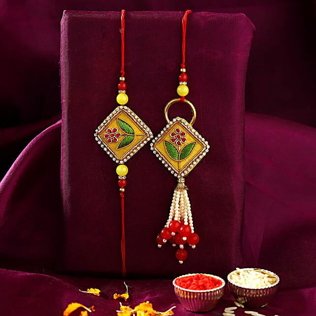 Rajasthani Embroidered Lumba Rakhi:Rakhi Sets