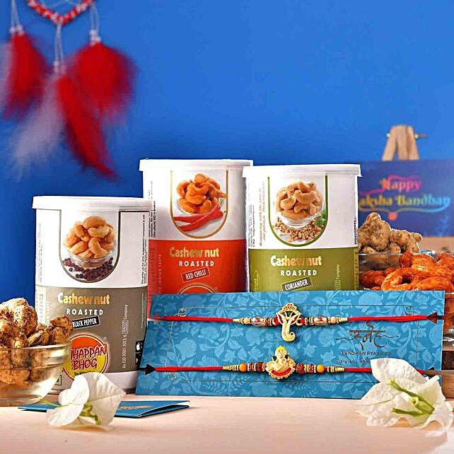 2 Ganesha Rakhis With Assorted Flavour Cashews:Send Set of 2 Rakhi to USA