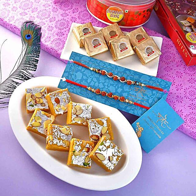 2 Rudraksha Rakhis With Mewa Bites And Batisha:2 Rakhi Set for USA
