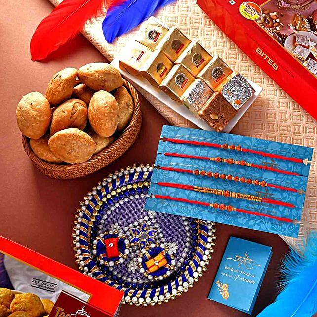 5 Rudraksha Rakhis With Mewa Bites And Mini Khasta:Rakhi Pooja Thali to USA