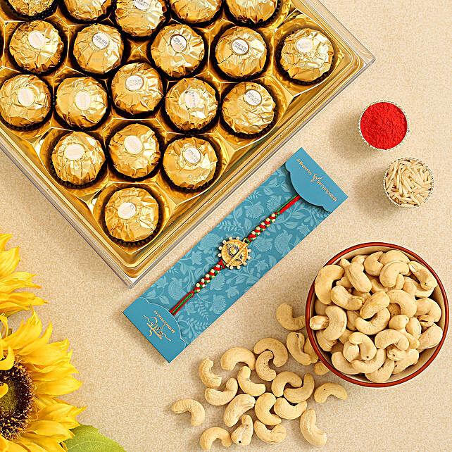 Feather Bansuri Rakhi And Cashew With Ferrero Rocher:Rakhi with Dry Fruits to USA