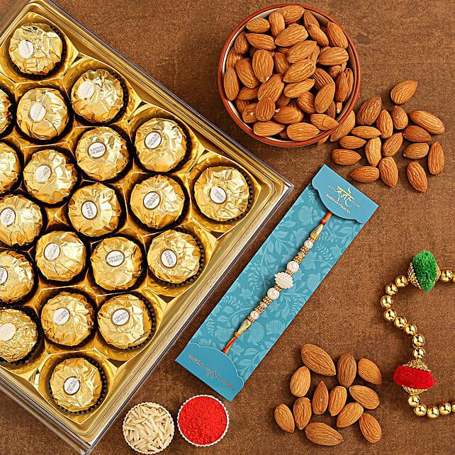 White Pearl Rakhi And Almonds With 12 Pcs Ferrero Rocher