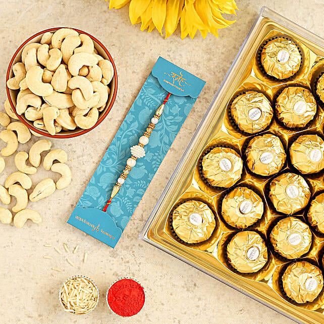 White Pearl Rakhi And Cashew With 12 Pcs Ferrero Rocher