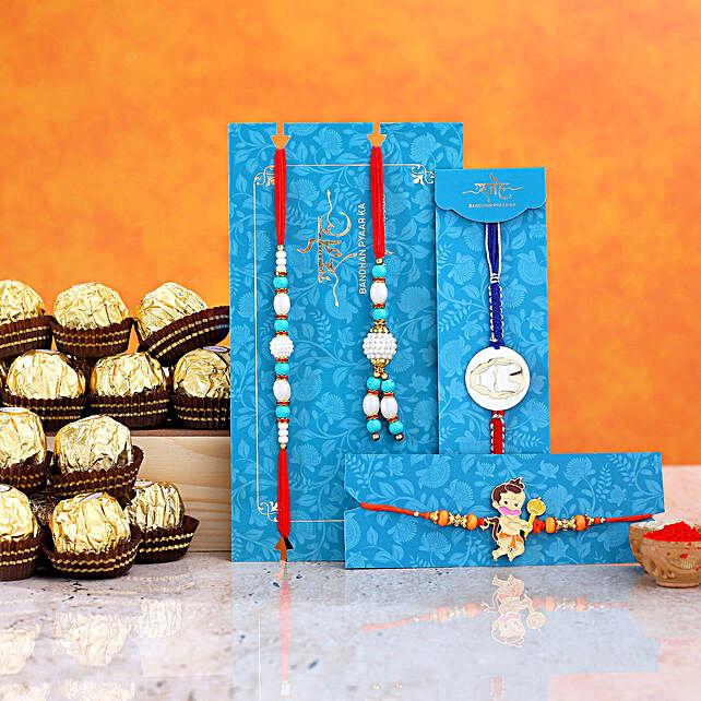 Kids Rakhi Combo And Pearl Lumba Rakhi Set With 12 Pcs Ferrero Rocher