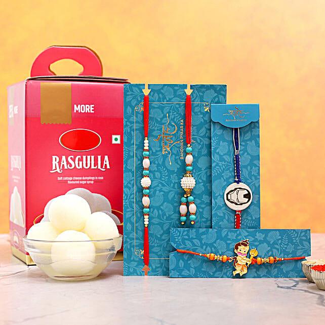 Blue Lumba Rakhi Set And 2 Kids Rakhis With Rasgulla:Set of 4 Rakhi to USA