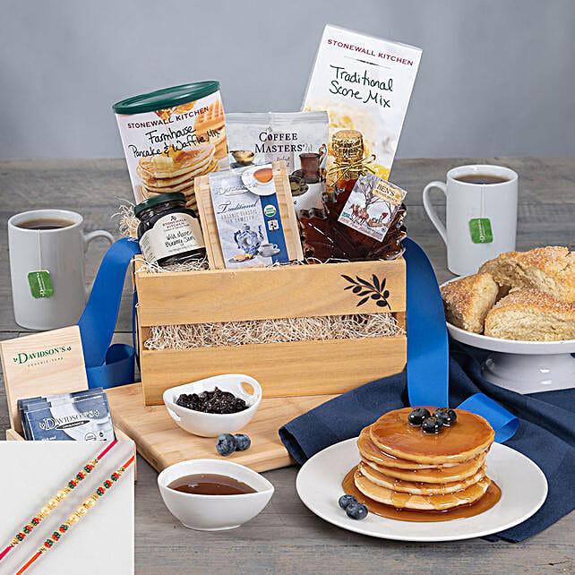 Sleek Pearl Rakhi Set And Breakfast Treats Hamper:2 Rakhi Set for USA