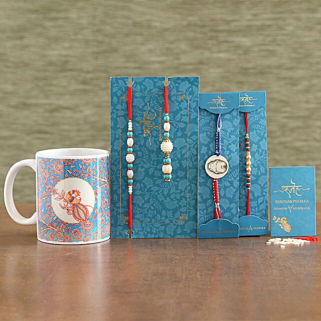 Family Rakhi Set With Ceramic Mug