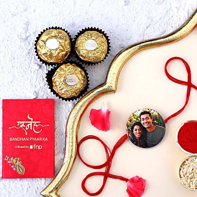 Cute Personalised Photo Rakhi Cum Magnet And Chocolates