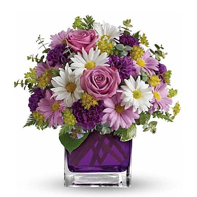 Luxurious Mixed Flowers Purple Vase