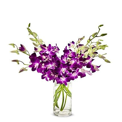 Purple Orchids Glass Vase:Orchid Delivery in USA