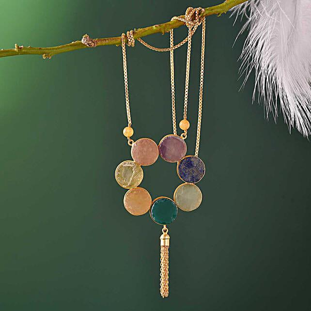 18 Kt Gold Polished Semi Precious Stone Necklace