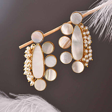 18 Kt Golden Polished Mother Of Pearl Earrings