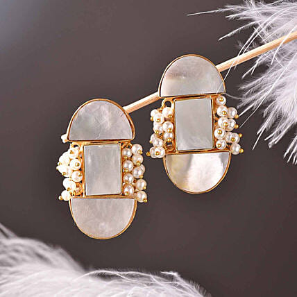 D Shaped Mother Of Pearl Earrings