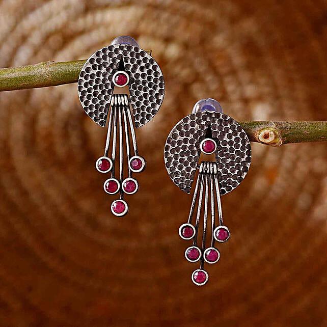 Elegant Silver Oxidised Earrings